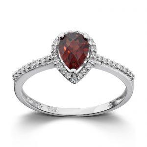 Mestergull Lekker ring i hvitt gull med diamanter og granat MG DIAMONDS Ring