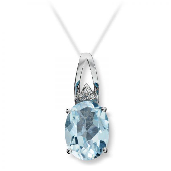 Mestergull Lekkert anheng i hvitt gull med diamanter og blå topas MG DIAMONDS Anheng