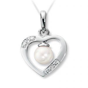 Mestergull Fint anheng i hvitt gull med ferskvannsperle og diamanter MG DIAMONDS Anheng