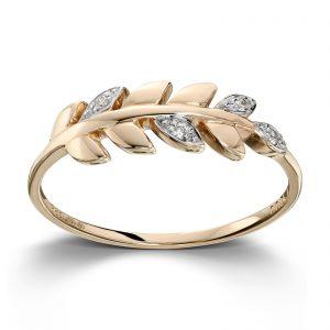 Mestergull Floral ring i gult gull med blader og diamanter MESTERGULL Ring