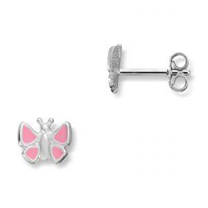 Mestergull Søt sommerfuglørepynt i sølv med rosa lakk MG BASIC Ørepynt