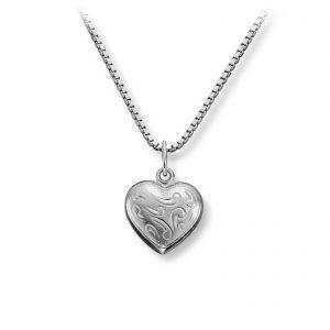 Mestergull Flott floralt hjerteanheng i sølv MG BASIC Anheng