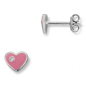 Mestergull Søt hjerteørepynt i sølv med rosa lakk MG BASIC Ørepynt