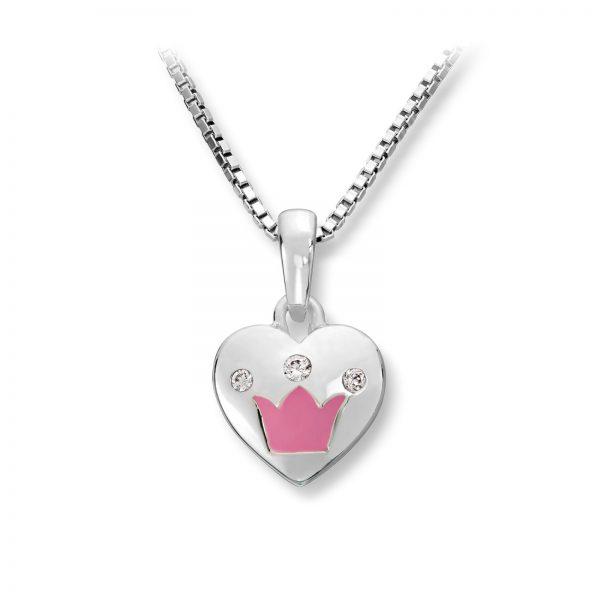 Mestergull Søtt hjerteanheng i sølv med rosa lakk krone og cubiz zirkonia MG BASIC Anheng