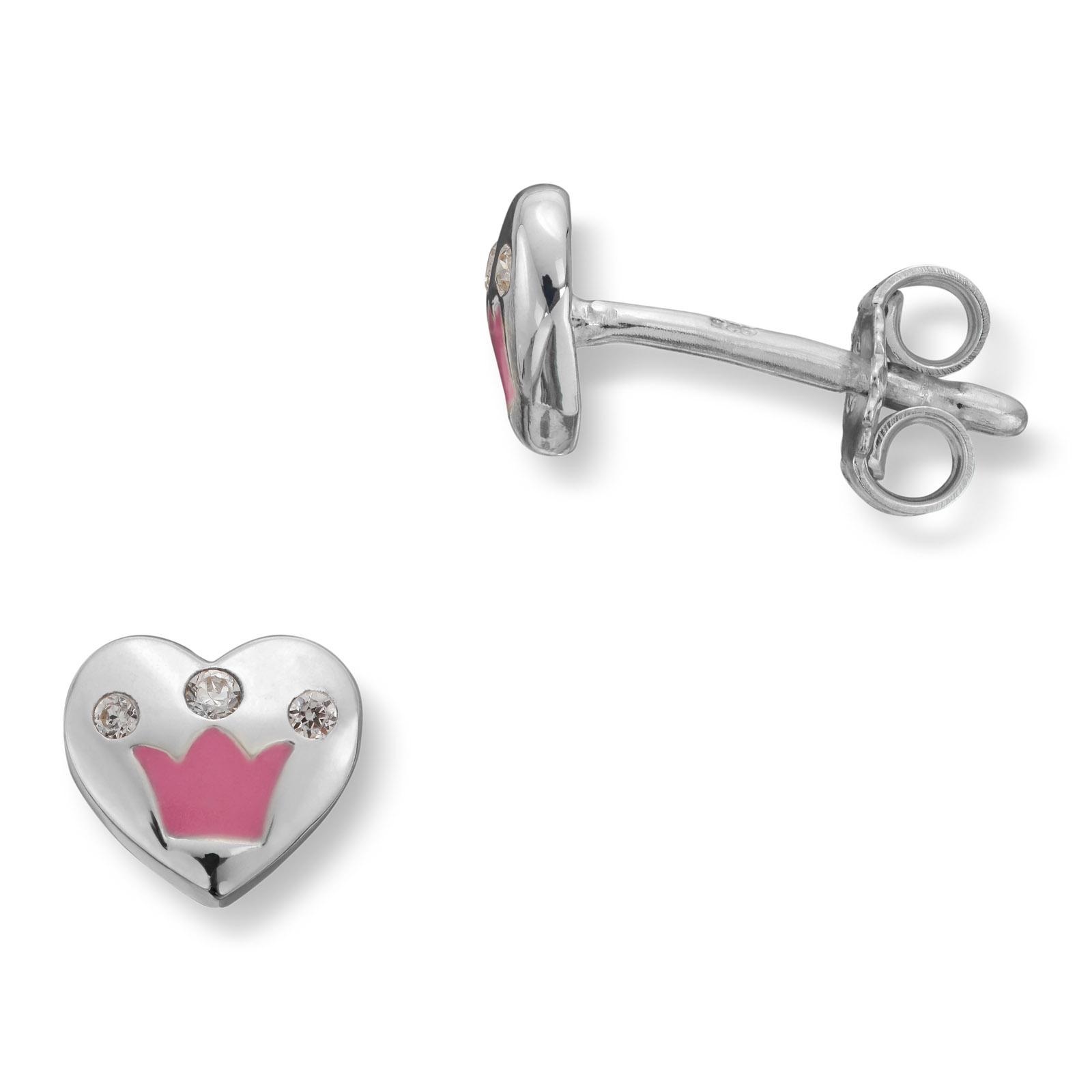 Mestergull Søt hjerteørepynt i sølv med rosa lakk krone og cubiz zirkonia MG BASIC Ørepynt