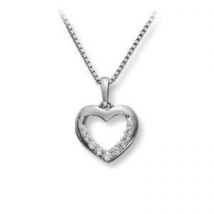 Mestergull Elegant hjerteanheng i sølv med cubic zirkonia MG BASIC Anheng