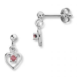 Mestergull Enkel hjerteørepynt i sølv med rosa krystal MG BASIC Ørepynt