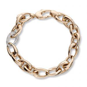 Mestergull Vakkert armbånd i gult og hvitt gull med diamanter MESTERGULL Armbånd