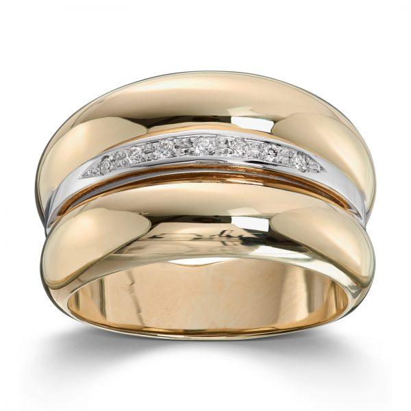 Mestergull Flott ring i hvitt og gult gull med diamanter MESTERGULL Ring
