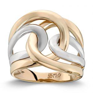 Mestergull Delikat ring i gult og hvitt gull MESTERGULL Ring