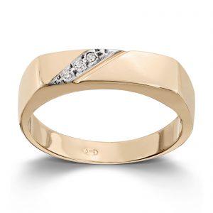 Mestergull Lekker ring til herre i gult og hvitt gull med cubic zirkonia MESTERGULL Ring