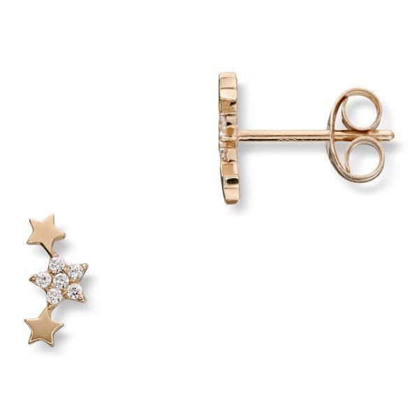 Mestergull Stilig stjerneørepynt i gull med cubic zirkonia MESTERGULL Ørepynt