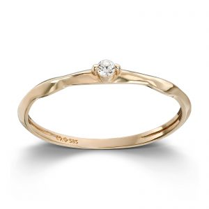 Mestergull Delikat ring i gult gull med cubic zirkonia MESTERGULL Ring