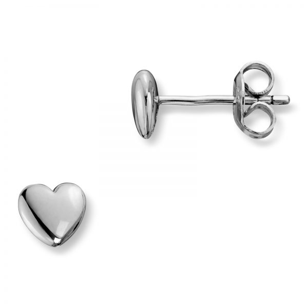 Mestergull Enkel hjerteørepynt i rhodinert sølv MG BASIC Ørepynt