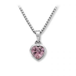 Mestergull Enkelt hjerteanheng i rhodinert sølv med rosa cubic zirkonia MG BASIC Anheng