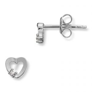 Mestergull Enkel hjerteørepynt i rhodinert sølv med cubic zirkonia MG BASIC Ørepynt