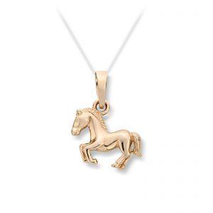 Mestergull Fint anheng i gult gull med hest MG BASIC Anheng