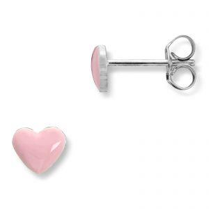 Mestergull Søt ørepynt i rhodinert sølv med hjerte i rosa emalje MG BASIC Ørepynt