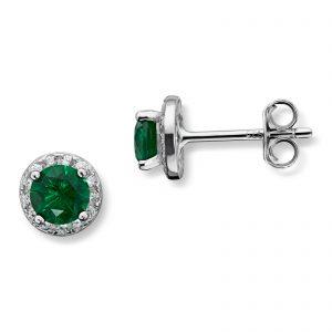 Mestergull Fin ørepynt i rhodinert sølv med grønn krystall MG BASIC Ørepynt