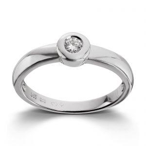 Mestergull Delikat ring i hvitt gull med diamant MG DIAMONDS Ring