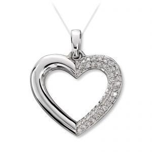 Mestergull Elegant hjerte anheng i hvitt gull med diamanter MG DIAMONDS Anheng