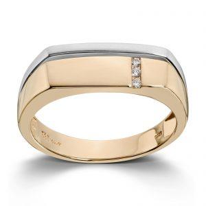 Mestergull Flott ring til herre i gult og hvitt gull med diamanter MESTERGULL Ring