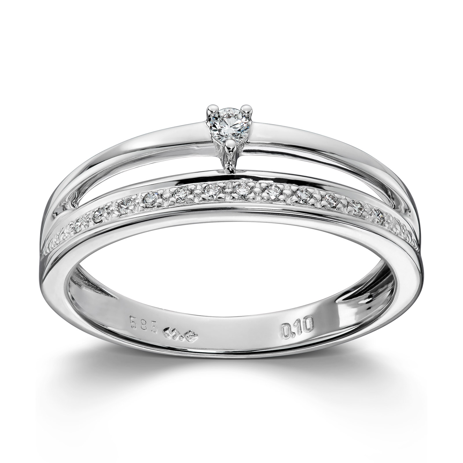 Mestergull Elegant ring i hvitt gull med diamanter MG DIAMONDS Ring