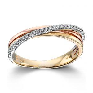 Mestergull Fin ring i flerfarget gull med diamanter MG DIAMONDS Ring