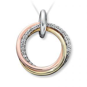 Mestergull Fint anheng sirkel i flerfarget gull med diamanter MG DIAMONDS Anheng