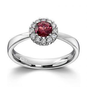 Mestergull Klassisk ring i hvitt gull med diamanter og rhodolitt MG DIAMONDS Ring
