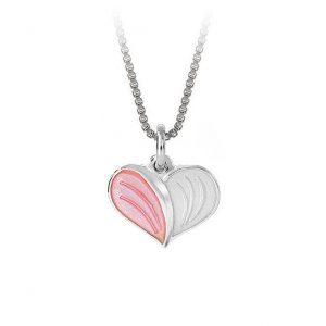 Mestergull Anheng i sølv med hjerteform og emalje i rosa og hvit PIA & PER Anheng