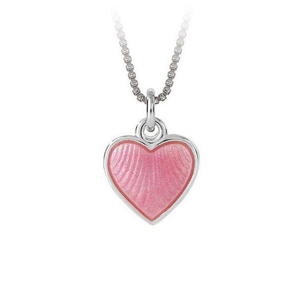 Mestergull Sølv hjerte anheng med rosa emalje PIA & PER Anheng