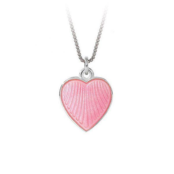 Mestergull Anheng i sølv med hjerteform og rosa emalje PIA & PER Anheng