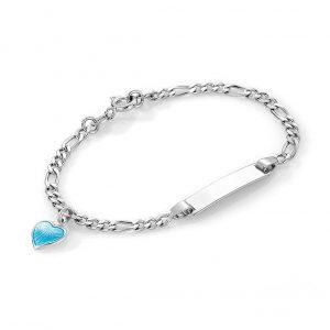 Mestergull Sølv og emalje armbånd med plate for gravering og charms med blått hjerte PIA & PER Armbånd