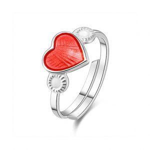 Mestergull Regulerbar barnering i sølv med hjerte i rød emalje PIA & PER Ring