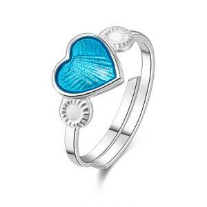 Mestergull Regulerbar barnering i sølv med hjerte i turkis emalje PIA & PER Ring