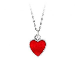 Mestergull Lite og søtt sølv hjerte anheng med rød emalje PIA & PER Anheng