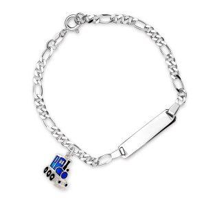 Mestergull Sølv og emalje armbånd med plate for gravering og charms i blått tog PIA & PER Armbånd