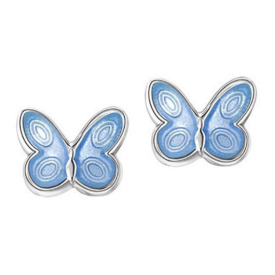 Mestergull Sølv ørepynt med lys blå sommerfugl i emalje PIA & PER Ørepynt