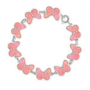 Mestergull Armbånd med rosa sommerfugler i sølv og emalje PIA & PER Armbånd