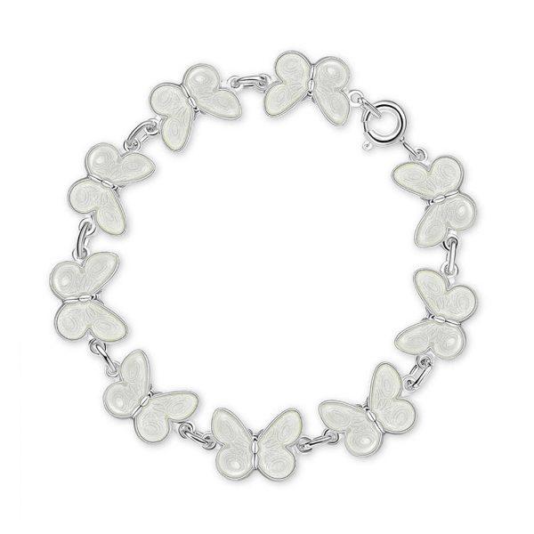 Mestergull Armbånd med hvite sommerfugler i sølv og emalje PIA & PER Armbånd