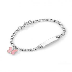 Mestergull Sølv og emalje armbånd med plate for gravering og charms med rosa sommerfugl PIA & PER Armbånd