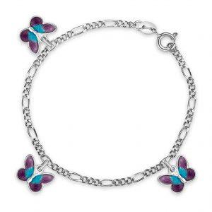 Mestergull Sølv armbånd til barn med sommerfugl charms i lilla emalje PIA & PER Armbånd