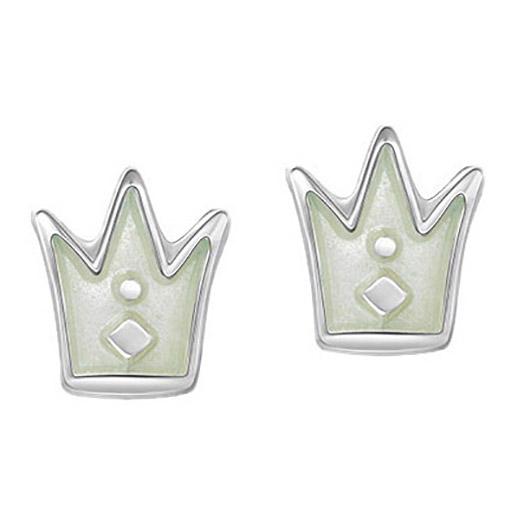 Mestergull Ørepynt i sølv krone med hvit emalje PIA & PER Ørepynt