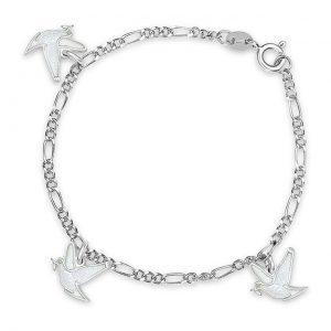 Mestergull Sølv og emalje armbånd med plate for gravering og charms med hvit fredsdue PIA & PER Armbånd