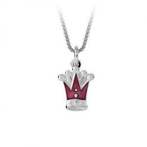 Mestergull Anheng med lilla kroner som charms i sølv og emalje PIA & PER Anheng