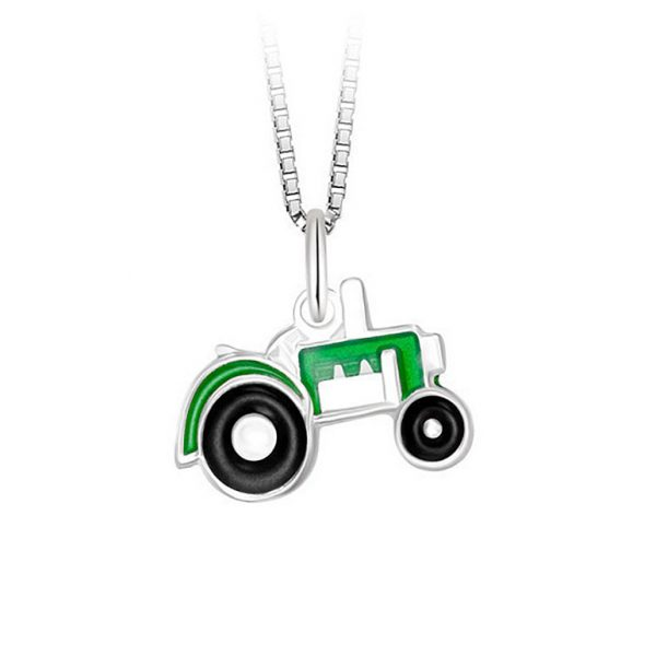 Mestergull Anheng med grønn traktor i sølv og emalje PIA & PER Anheng