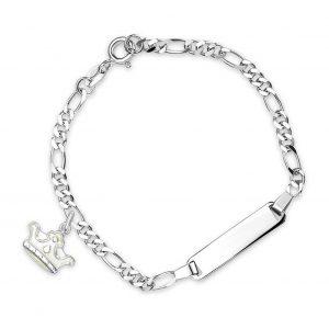 Mestergull Sølv og emalje armbånd med plate for gravering og charms i hvit krone PIA & PER Armbånd