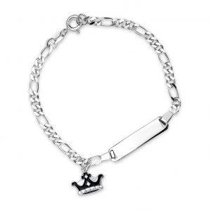 Mestergull Sølv og emalje armbånd med plate for gravering og charms i sort krone PIA & PER Armbånd