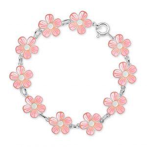 Mestergull Sølv armbånd med blomster i rosa emalje PIA & PER Armbånd